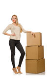 Woman with boxes relocating to new house isolated Stock Photo