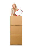 Woman with boxes relocating to new house isolated Stock Photos