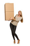 Woman with boxes relocating to new house isolated Royalty Free Stock Photo