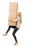 Woman with boxes relocating to new house isolated Royalty Free Stock Images