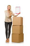 Woman with boxes relocating to new house isolated Royalty Free Stock Photography