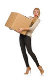 Woman with boxes relocating to new house isolated Stock Photography