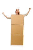 Woman with boxes relocating to new house isolated Stock Images