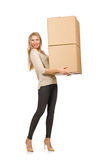 Woman with boxes relocating to new house Stock Photography