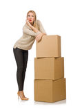 Woman with boxes relocating to new house Royalty Free Stock Images