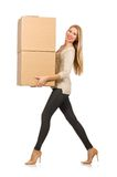 Woman with boxes relocating to new house Stock Photo
