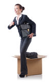 Woman with boxes Royalty Free Stock Image