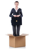Woman with boxes. On white Stock Images