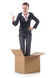 Woman with boxes Stock Image