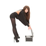 Woman with boxes on white. This image has attached release Royalty Free Stock Image