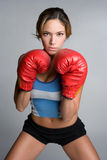 Woman Boxing. Health woman wearing boxing gloves Stock Photo