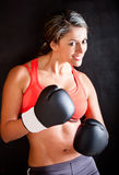 Woman boxing Stock Images