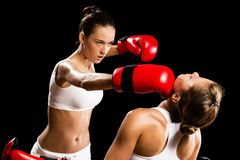 Woman boxing Royalty Free Stock Image