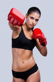 Woman boxing. Royalty Free Stock Photos