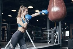 Woman boxing. Beautiful young woman while training boxing in the gym stock photos