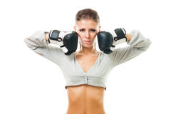 Woman, boxing champion Stock Photography