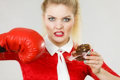 Woman boxing chocolate cupcake royalty free stock images