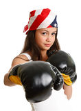 Woman boxing and exercising Stock Photos