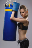 Woman in boxing gloves Stock Images