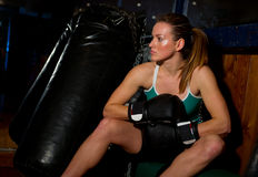 Woman with boxing gloves Royalty Free Stock Photo