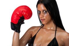 Woman with boxing gloves. Royalty Free Stock Photography