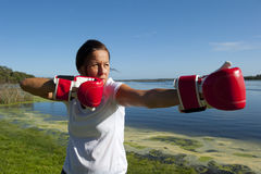 Woman with Boxing Gloves Stock Photo