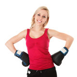 Woman in boxing gloves Royalty Free Stock Image