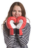 Woman with boxing gloves Royalty Free Stock Image