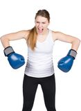 Woman with boxing gloves is annoyed Stock Images