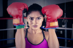 Woman with boxing gloves on the arena Stock Images