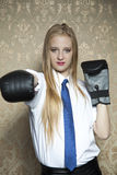 Woman in boxing gloves Stock Photo