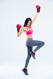 Woman in boxing gloves celebrating her success Royalty Free Stock Photography