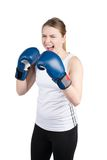 Woman with boxing gloves is crying Stock Image