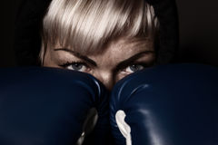 Woman in boxing gloves Royalty Free Stock Photography