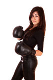 Woman with boxing gloves isolated Royalty Free Stock Photo