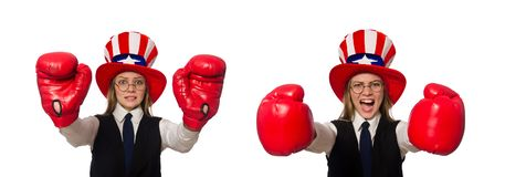 The woman with boxing gloves isolated on white. Woman with boxing gloves isolated on white stock photography
