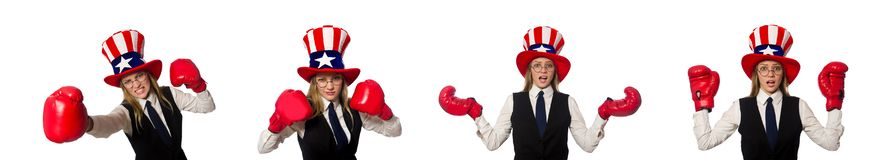The woman with boxing gloves isolated on white. Woman with boxing gloves isolated on white stock images