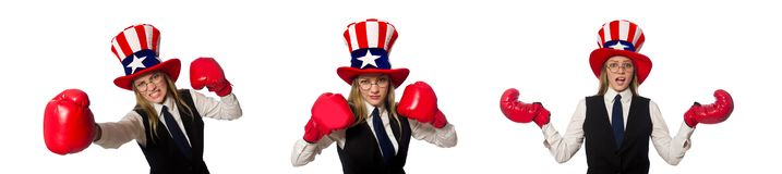 The woman with boxing gloves isolated on white. Woman with boxing gloves isolated on white stock photo