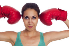 Woman with boxing gloves Stock Image