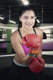 Woman with boxing gloves in the ring Stock Photos