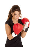 Woman boxing gloves serious Royalty Free Stock Images