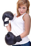 Woman with boxing gloves threatening Stock Image