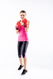 Woman in boxing gloves stock photos