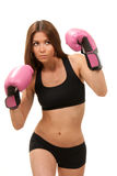 Woman Boxing In Pink Gloves Royalty Free Stock Images