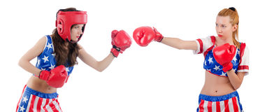 Woman boxing isolated on white Royalty Free Stock Photography