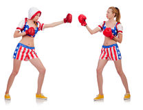 Woman boxing isolated on white Stock Image