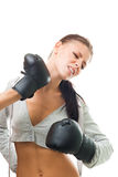 Woman boxing missed the hit Royalty Free Stock Images