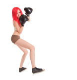 Woman is boxing over white Stock Photos