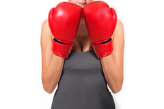 Woman boxing pose Stock Images