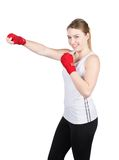 Woman in boxing position Stock Images